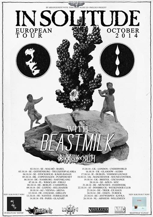 Tourposter for In Solitude, Beastmilk and Obnoxious Youth